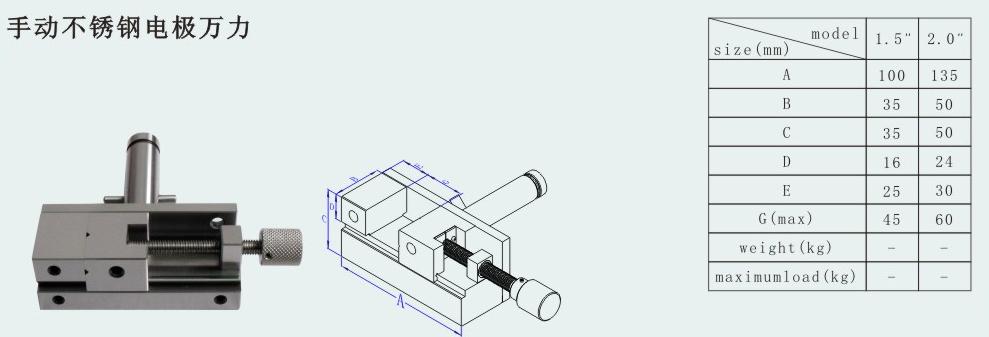 Cpws 174 Sinker Edm Electrode Manual Vise Vis677 2 Sizes